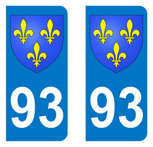 Sticker immatriculation 93 - Blason Ile de France