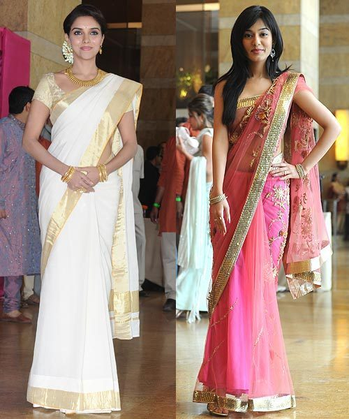 Bollywood actresses Asin Thottumkal and Amrita Rao chose to keep jewellery simple at Riteish and Genelia's wedding.