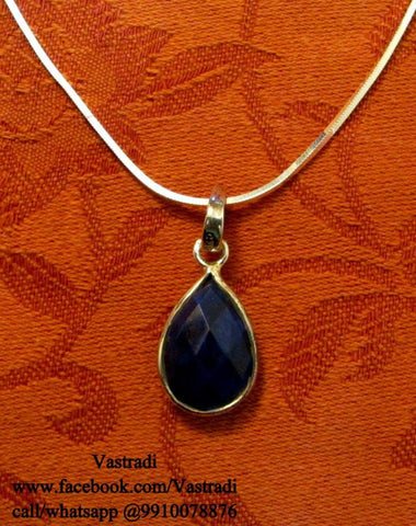 Smart Silver Pendant Set in Dark Blue Colour - SP17