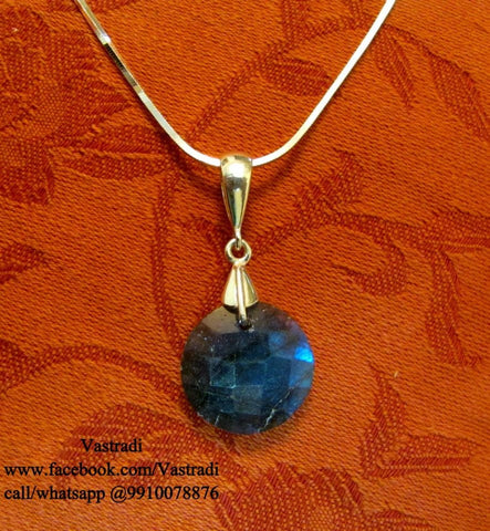 Sober Silver Pendant Set in Blue Colour - SP09