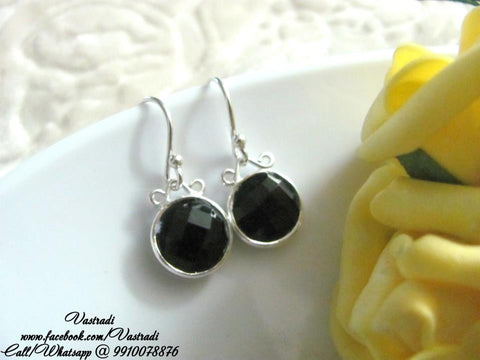 Everyday 92.5 Silver Earrings in Black Colour - SE56