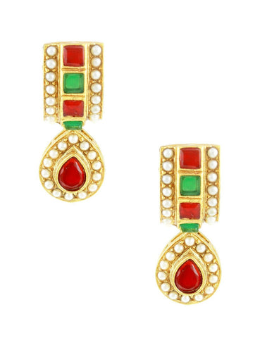 Embellished Polki earrings in Maroon and Green Colour - PO452