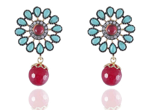 Alluring Designer Earrings in Rose and Emerald Colour - DE120