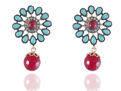 Alluring Designer Earrings in Rose and Blue Colour - DE120