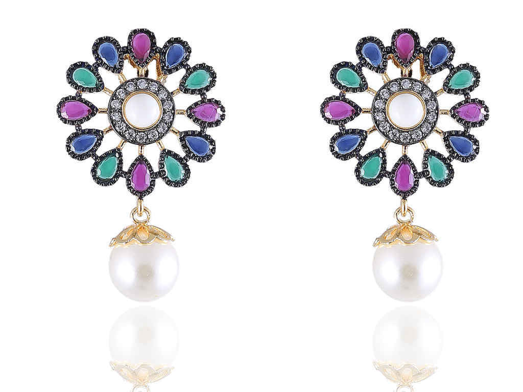 Awesome Designer Earrings in Pink, Green and Blue color with a Pearl drop - DE121
