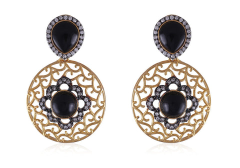 Designer Earrings with Filigree Work and American Diamonds with Black stones DE130