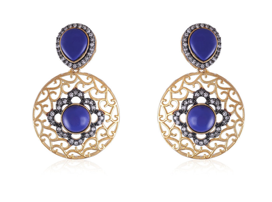 Designer Earrings with Filigree Work and American Diamonds with Blue stones DE131