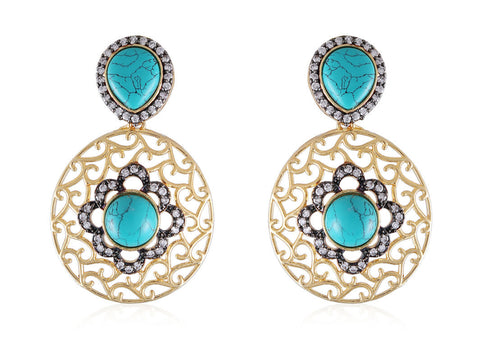 Designer Earrings with Filigree Work and American Diamonds with Turquoise Green stones DE132