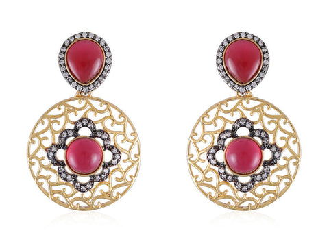 Designer Earrings with Filigree Work and American Diamonds with Faux Ruby stones DE133