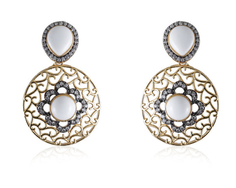 Designer Earrings with Filigree Work and American Diamonds with White colored stones DE134