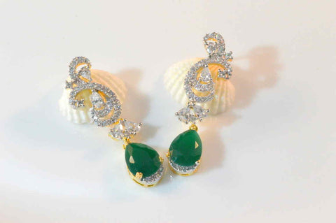 Appealing American Diamond Earrings in Green and White Colour  - DI479