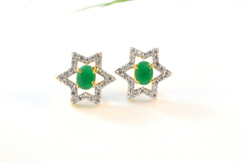 Star Shaped American Diamond Earrings in Green and White Colour - DI481