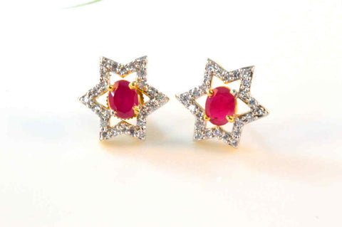 Cute American Diamond Earrings in Rose and White Colour - DI482