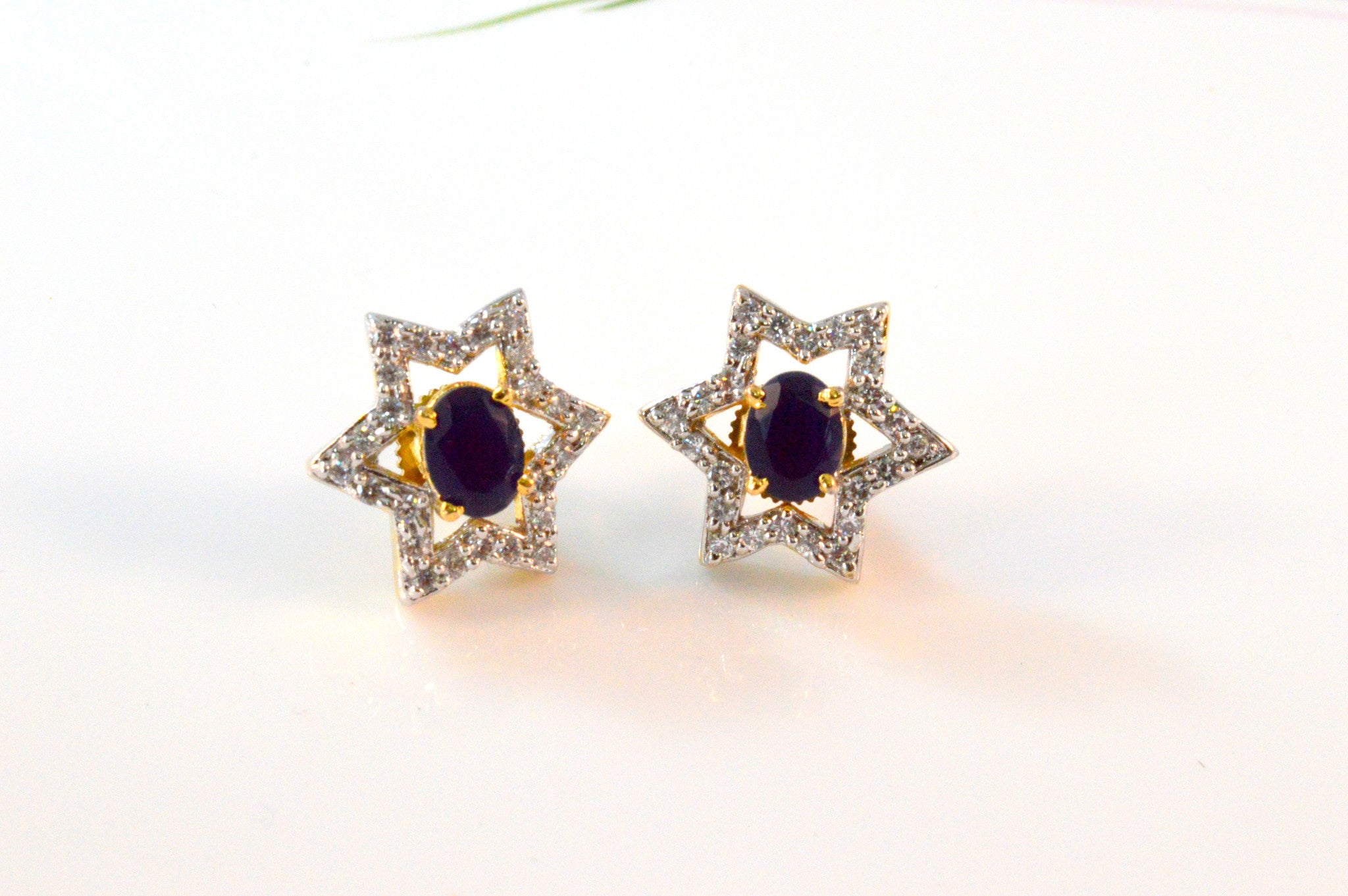 Dinky American Diamond Earrings in Blue and White Colour - DI483