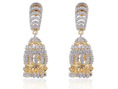 Jhumki Style American Diamond Earrings in White Colour - DI492