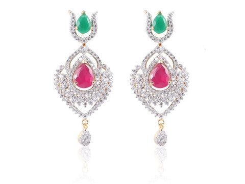 Excellent American Diamond Earrings in Rose and Sea Green Colour - DI501