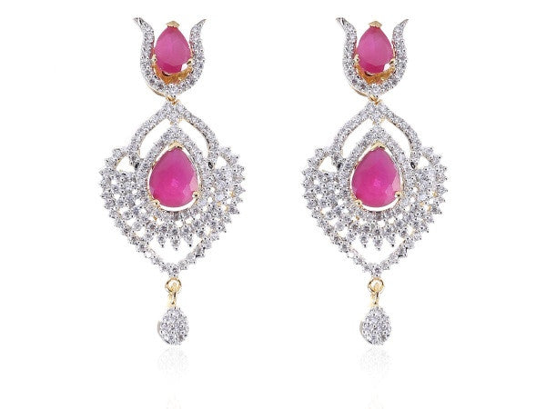 Eye - Catching American Diamond Earrings in Pink Colour - DI502