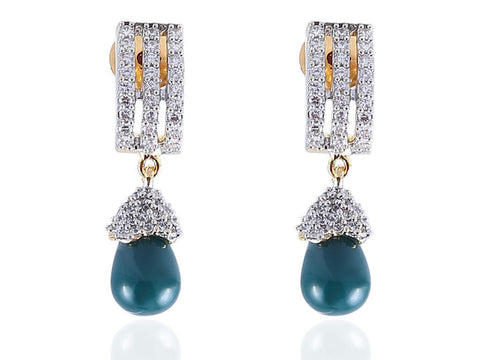 Aesthetic American Diamond Earrings in Bottle Green and White Colour - DI523