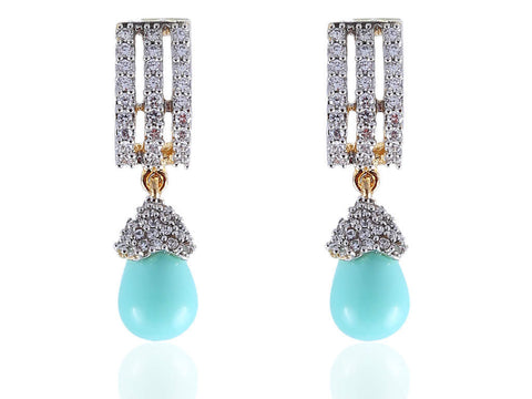 Amazing American Diamond Earrings in Blue and White Colour - DI526