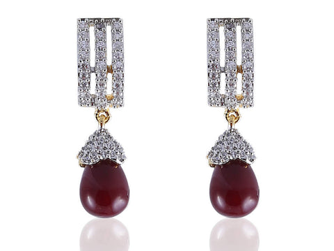 Alluring American Diamond Earrings in Maroon and White Colour - DI527