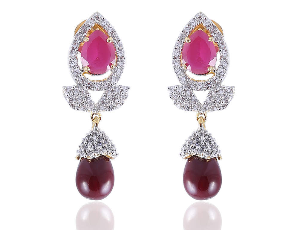 Eccentric American Diamond Earrings in Rose, Maroon and White Colour - DI529
