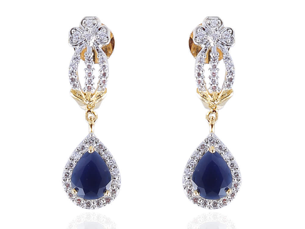 Beauteous American Diamond Earrings in Blue and White Colour - DI533