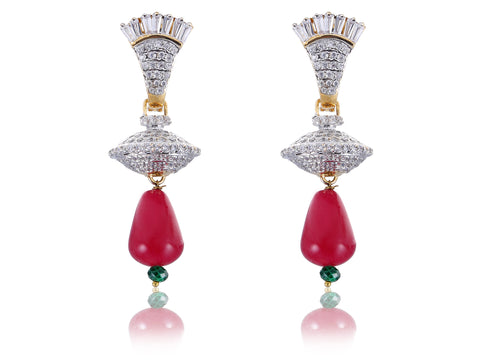 Beautiful Designer American Diamond Earrings with a Ruby colored drop DI562
