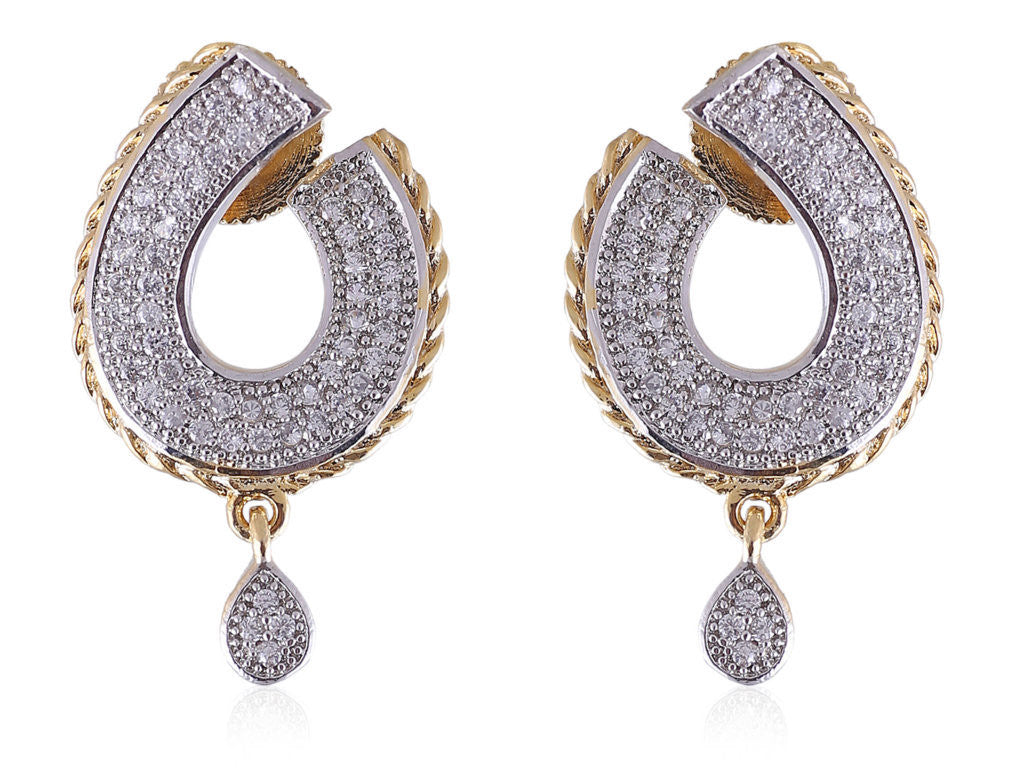 Delicate and Beautiful Huggie Style American Diamond Earrings DI583