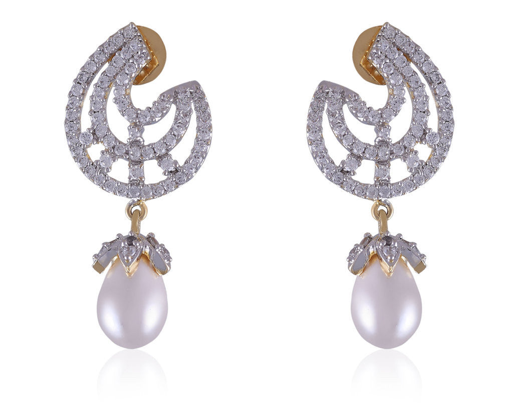 Classy and elegant American Diamond Earrings with beautiful Pearl Drops DI591