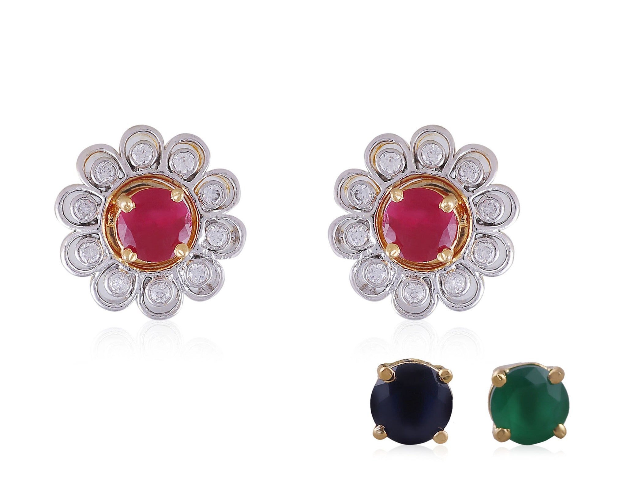 Changeable stones American Diamond Earrings DI595