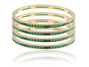 Classy Faux Emerald Bangles in Golden Polish DK26c