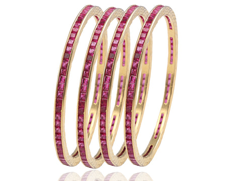 Classy Faux Ruby Bangles in Golden Polish DK27a