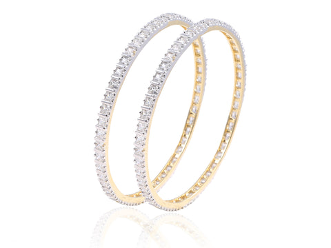 Exquisite American Diamond Bangles in Golden finish DK37b