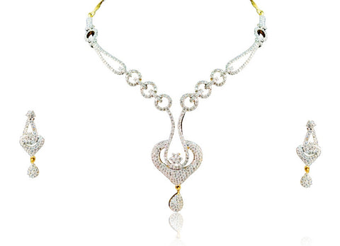 Eclectic American Diamond Necklace Set in White Colour - DS67