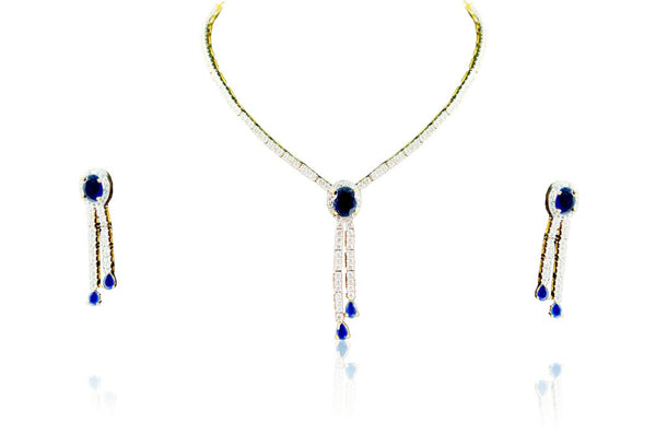 A necklace set with blue stone studded from Diamontic Collection