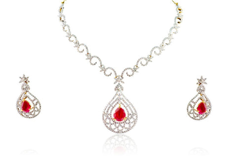 Gorgeous American Diamond Necklace Set in Red and White Colour - DS82