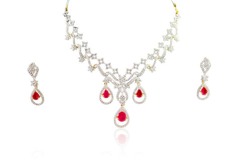 Splendent American Diamond Necklace Set in Red and White Stones - DS85