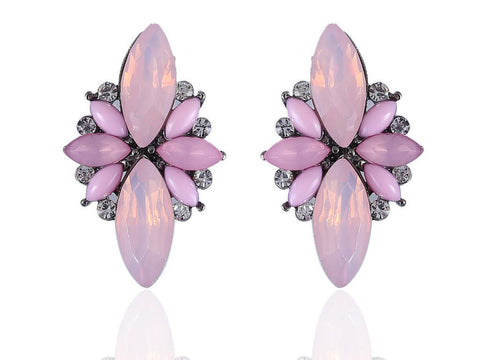 Alluring Fancy Earrings in Pink and White Colour - F178