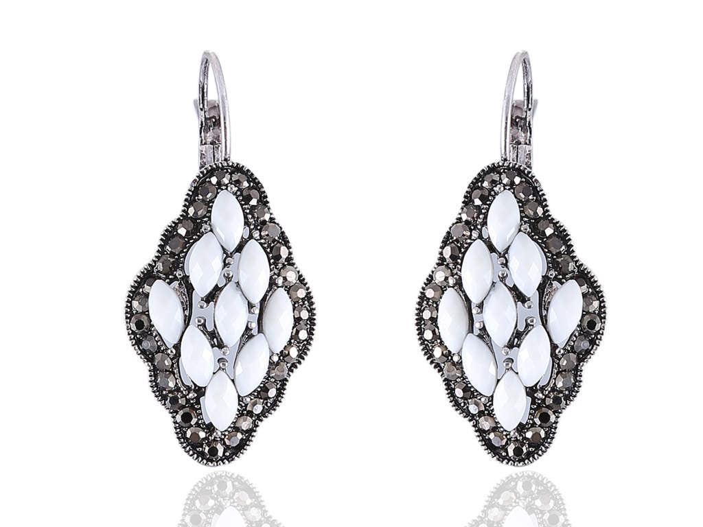 Spangled Fancy Earrings in White Colour - F181