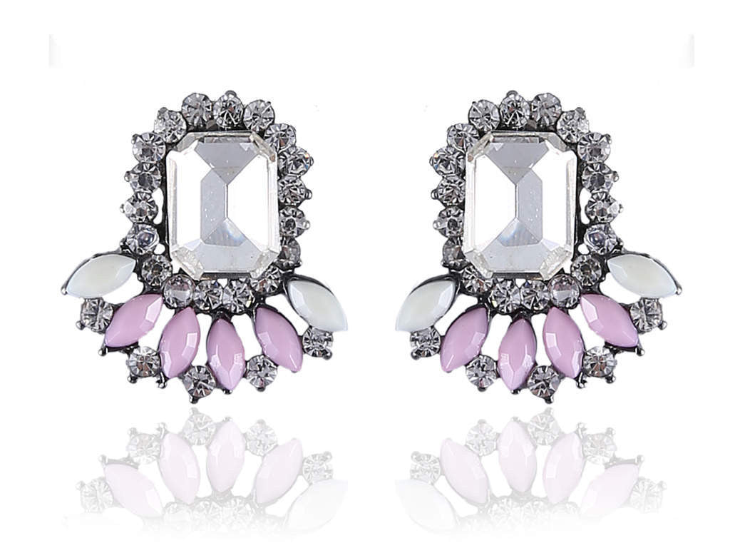 Amazing Fancy Earrings in Pink and White Colour - F183