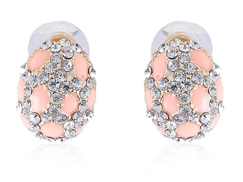 Oval Shaped Peach colored Fancy & Funky Earrings F187