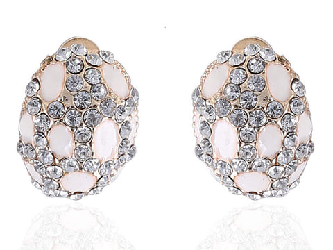 Oval Shaped White Fancy & Funky Earrings F188