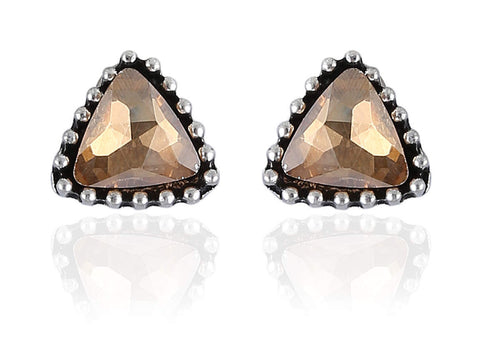 Desirable Fancy & Funky Earrings with Golden Stone and Silver Finish F233