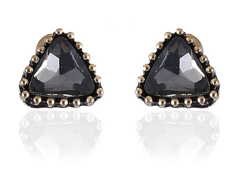 Alluring Fancy & Funky Earrings with Black Stone and Golden Finish F236