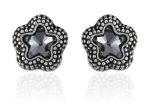 Beauteous Fancy & Funky Earrings with Black Stone and Silver Finish F253