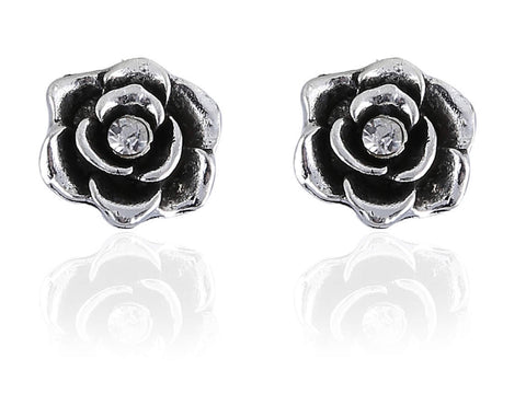 Admirable Rose-ShapedFancy & Funky Earrings in Silver Finishand F268