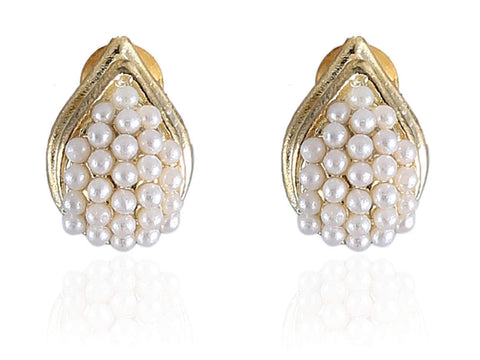 Alabaster Fancy & Funky Earrings with White Beads and Golden Finish F273