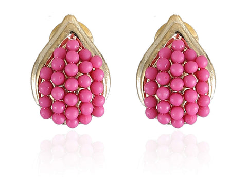 Beauteous Fancy & Funky Earrings with Pink Beads and Golden Finish  F275