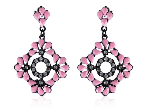 Square-Shaped Fancy & Funky Artificial Earrings with Pink and White Stones F292