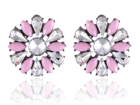 Round Fancy & Funky Imitation Earrings with Pink and White Stones F303